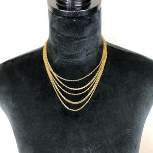 Vintage Multi Strand Gold Tone Necklace